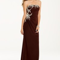 Strapless Swirl Dress with Chunky Side Bead