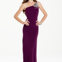 Jersey One Shoulder Dress with Beaded Swirl Back