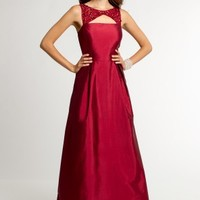 Taffeta Beaded Dress with V-Open Back