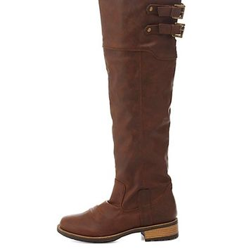 Qupid Lug Sole Knee-High Riding Boots by Charlotte Russe - Brown