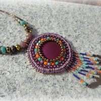 Indian summer big disc beadwork embroidery necklace 44 cm and 12 cm medallion and hanger
