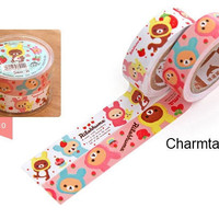 2 ROLLS San-x Deco paper masking Tape adhesive Stickers Rilakkuma bear as rabbit PR16
