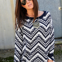 Cozy Aztec Sweater {Navy}