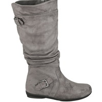 Gray Wilma double buckle wide boot