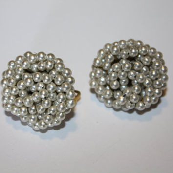 Vintage Earrings Seed Pearl Cluster 1950s Jewelry