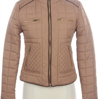 Prep Talk Quilted Puffer Jacket - Khaki | Daily Chic