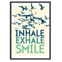 Inhale Exhale Smile Sea GreenBlue 13x19 by theinksociety on Etsy