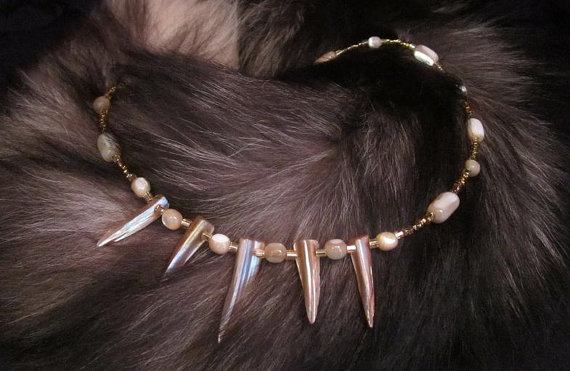 Tribal Abalone Daggers & Pearl Necklace