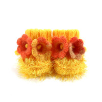Hand Knitted Baby Booties with Crochet Bell Flowers - Yellow, 3 - 6 months