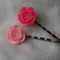 Hot pink bobby pin set- Pink rose hair pins- Bobby pin set- Light pink flower bobby pin- Hot pink flower bobby pin- Flower bobby pin set