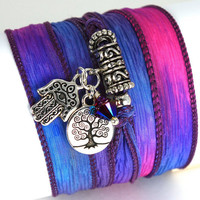 Hand Dyed Silk Wrap Bracelet - Dazzle with Silver Plated Hamsa, Tree of Life, and Fushia Swarovski Crystals