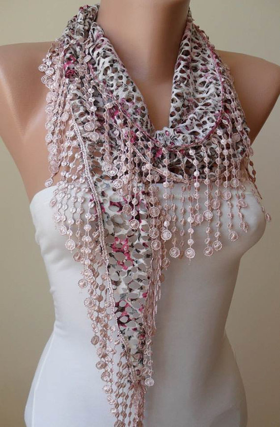 ON SALE - Perforated Fabric - Light Pink Scarf with Trim Edge