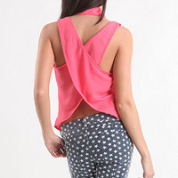 Open Back Collar Shirt in pink or blue