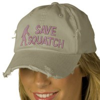 Save squatch * large logo* embroidered baseball caps from Zazzle.com