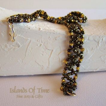 Bracelet Beaded Bronze Purple Gold Beads Gold Plate Clasp