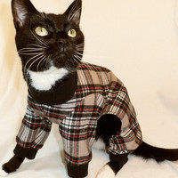 CoolCats Black and Tan Plaid Flannel Cat Pajamas