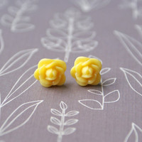 Petite Yellow Rose Cabochon Earrings