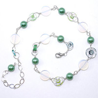 Lime green pearl sterlng silver fill wire wrap chain link necklace White ivory cream glass opal bead Clear round Short wirewrap choker Clasp