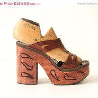 30% off SALE Etched Wood Platform Sandals - Brown Leather Straps