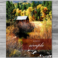 Keep it Simple Quote Photograph, Aspen Photography, Typography Print, Inspirational quote, Photo quote print, Cabin Photo