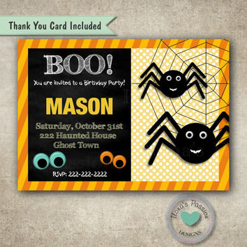 Spider Birthday Invitation - Halloween Invitation - Fall Party