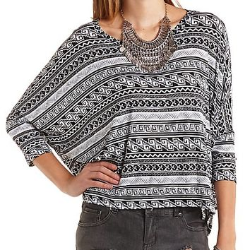 Oversized Aztec Print Dolman Top by Charlotte Russe - Black Combo