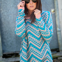 Cozy Aztec Sweater {Peach + Aqua}