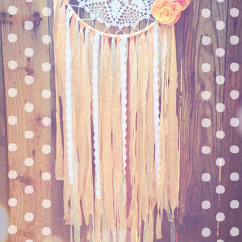White & Peach Boho Shabby Chic Crochet Doily Floral Dream Catcher
