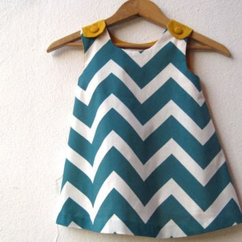 The Ava Dress - organic toddler girls dress in peacock blue teal green chevron and gold / eco friendly mod geometric fashion (made to order)