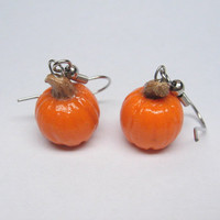 Halloween Pumpkin Dangle Earring. polymer Clay Jewelry