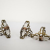 Wire Wrapped Raw Crystal Quartz Adjustable Flower Ring Antique Brass
