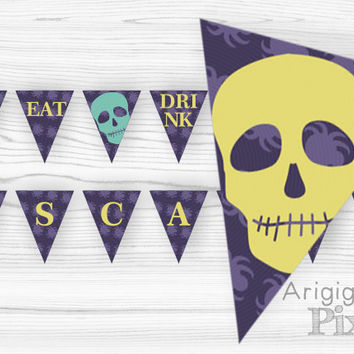 Eat Drink and be Scary Printable Banner, Halloween Party Decoration, Skull, Spider, Dark Purple, Indigo, DIY Party Banner, Instant Download