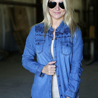 Embroidered Chambray {Button Up}