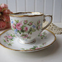 Vintage Roslyn Fine Bone China Moss Rose Pink Floral Teacup and Saucer