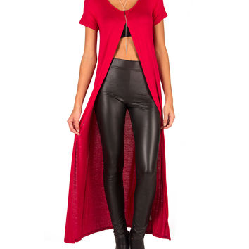 Long Open Slit Top - Red - Red /