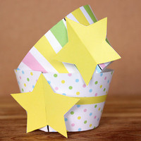 Pastel Star 3D Cupcake Wrapper Set - rainbow colors -  DIY printable party supplies – great for baby showers or birthdays - INSTANT DOWNLOAD