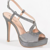 High Heel Satin Sandal with Rhinestone