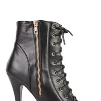 Open Toe Single Sole Bootie with Lace Up Front and Side Zipper