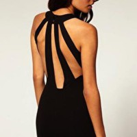 High Neckline Black  Dress With Back Cut-Outs
