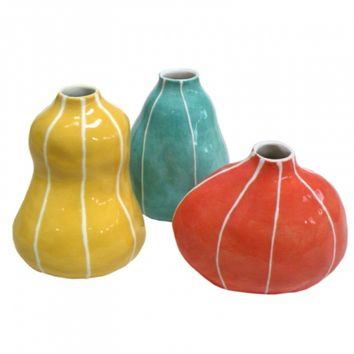VIT Yellow, Jade, and Coral Bud Vases, Set of 3