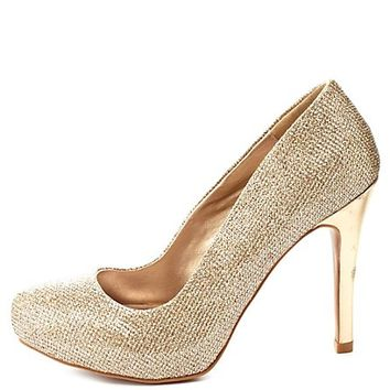 Qupid Glitter Mesh Pumps by Charlotte Russe - Champagne