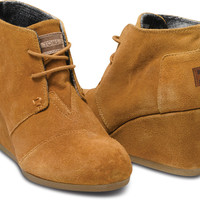CHESTNUT SUEDE WOMEN'S DESERT WEDGES