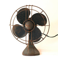 Rustic Industrial Metal Polar Cub Electric Fan