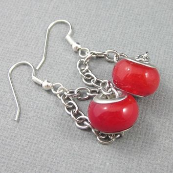 Red Large Hole Earrings With Chains Silver Lined Big Chunky bead