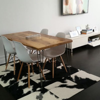 Modern Wood Table, Reclaimed wood tops and steel bases in your finish, size and style choice.