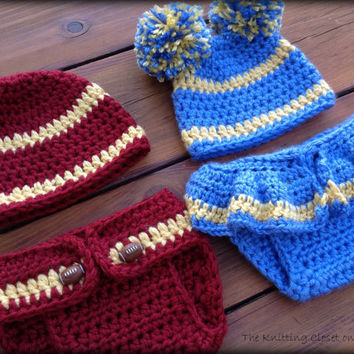 Crochet Newborn Photo Prop - Crochet USC Football Pattern - Cheer Diaper Cover and Hat Pattern - Football Baby