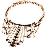 Golden And Black Geometry Hollow Out Necklace