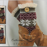 Lace Leg Warmers Ski sweater snowflake pattern 3 colors / womens   great with boots by Catherine Cole Studio legwarmers