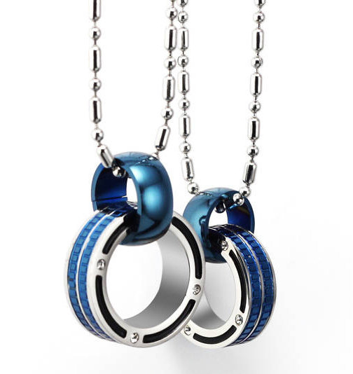Gullei Trustmart : Beautiful blue connecting rings couple necklaces wedding gift [GTMCN036] - $27.00 - Couple Gifts, Cool USB Drives, Stylish iPad/iPod/iPhone Cases & Home Decor Ideas