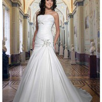 Strapless Gown Sweetheart Neckline Pleated Appliques Embellished Taffeta Dress YSP8363 - Wedding Dresses - Wedding Apparel